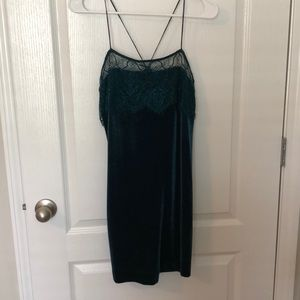 Teal velvet shift dress with lace detail
